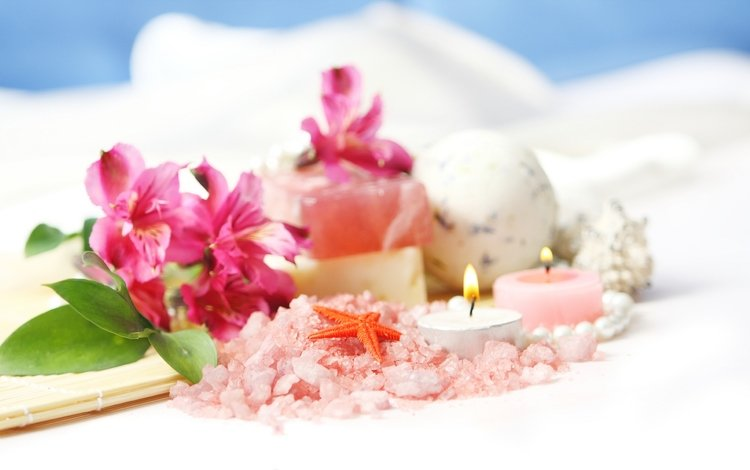 flowers, candles, spa, starfish, salt