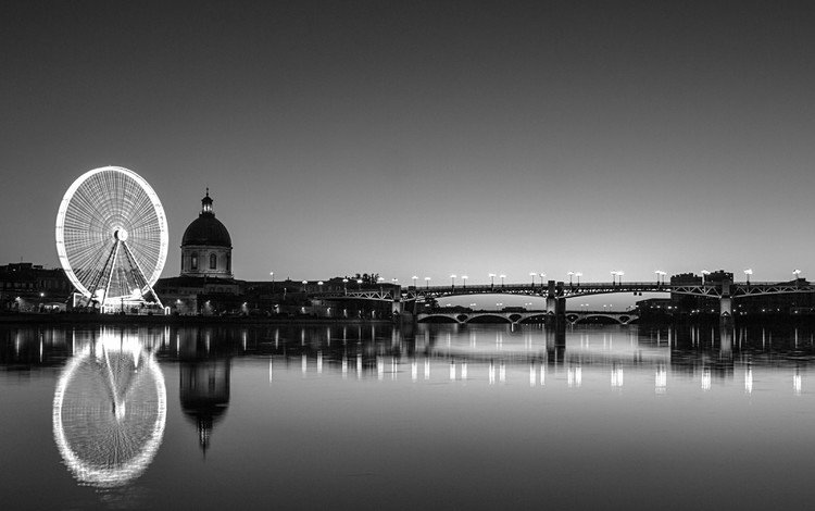 night, horizon, black and white, twilight, france, the urban landscape, toulouse, pont saint pierre, garonne