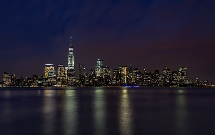 night, the evening, horizon, the city, coast, skyscrapers, usa, new york, twilight, manhattan, the urban landscape, ocean