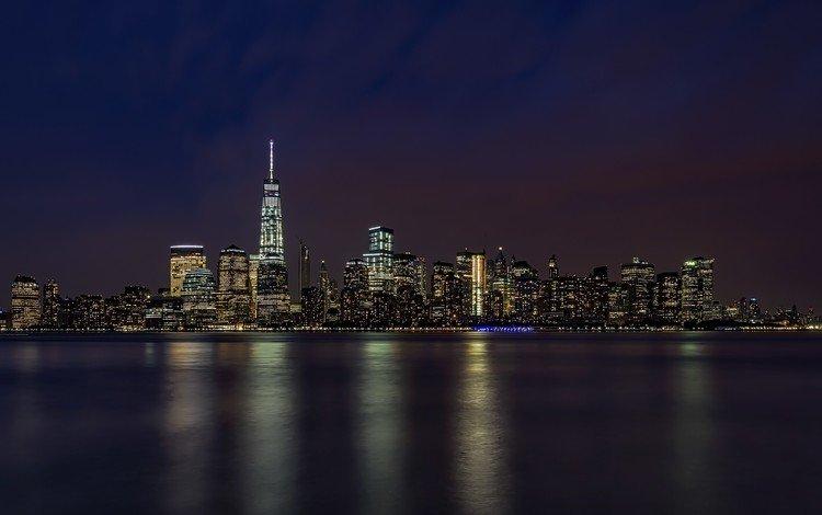 ночь, сумерки, вечер, манхэттен, горизонт, городской пейзаж, город, океа, побережье, небоскребы, сша, нью-йорк, night, twilight, the evening, manhattan, horizon, the urban landscape, the city, ocean, coast, skyscrapers, usa, new york