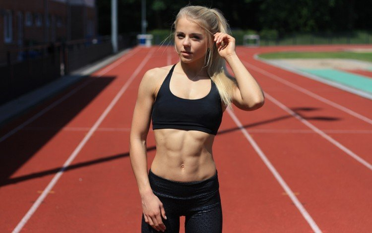 blonde, sport, treadmill, fitness, sports wear, workout