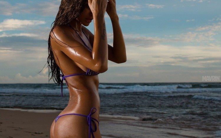 море, вика одинцова, песок, попа, модель, татуировка, бикини, длинные волосы, александр маврин, sea, vika odintsova, sand, ass, model, tattoo, bikini, long hair, alexander mavrin