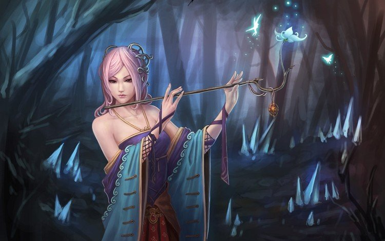 flowers, art, forest, girl, fantasy, magic, fairy, flute