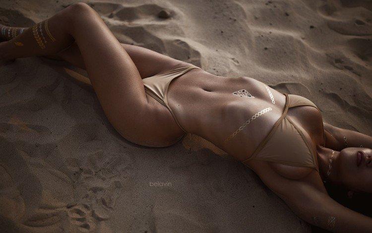 девушка, песок, пляж, модель, тело, бикини, girl, sand, beach, model, body, bikini