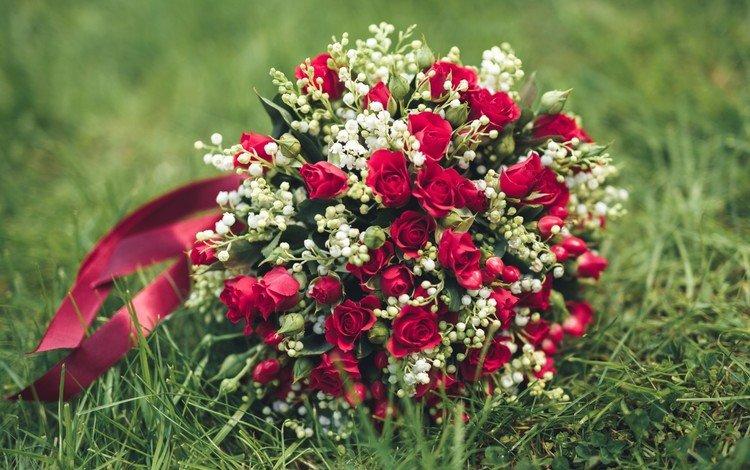 цветы, трава, розы, букет, свадебный букет, flowers, grass, roses, bouquet, wedding bouquet