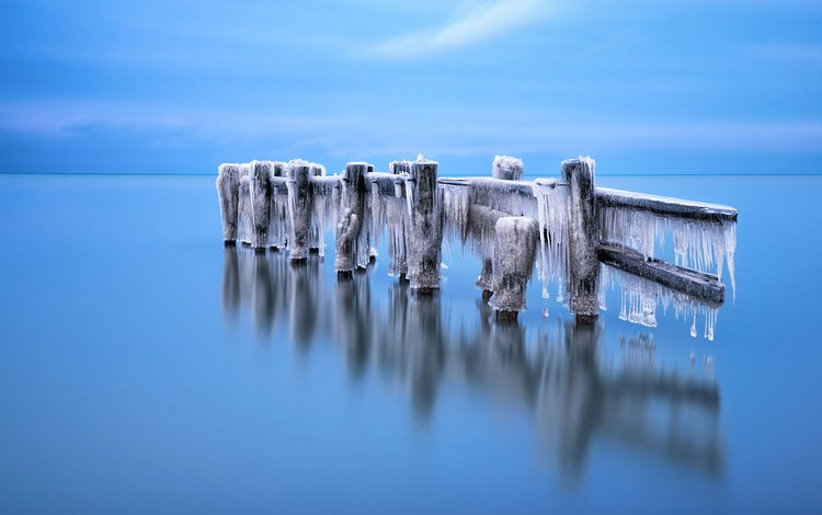 the sky, reflection, landscape, sea, icicles, brian krouskie