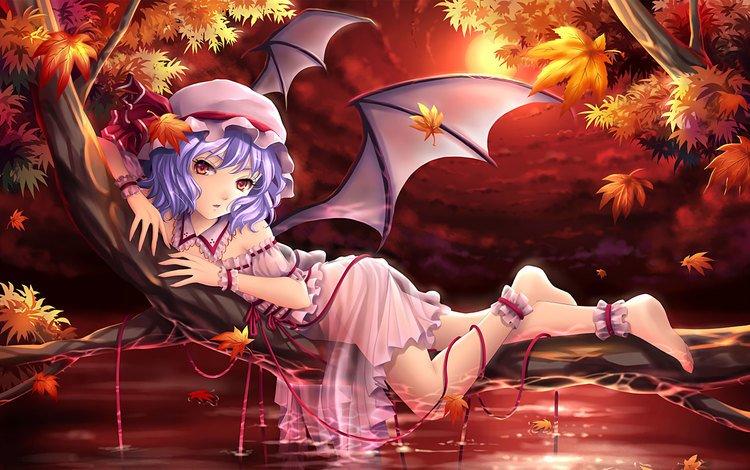 art, leaves, girl, dress, wings, anime, feet, red eyes, lying, purple hair, touhou, remilia scarlet