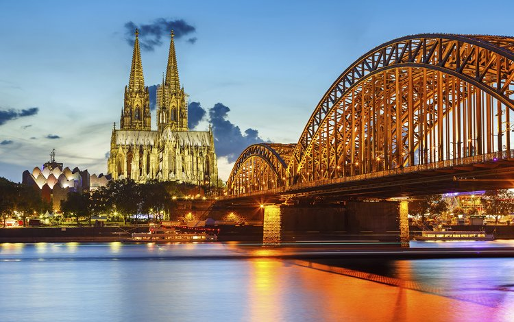 night, lights, cathedral, bridge, germany, cologne