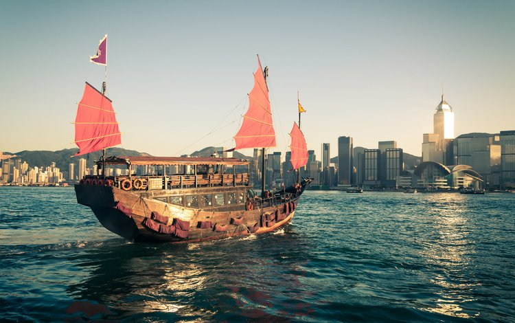ship, sailboat, china, yacht, architecture, hong kong, asia, chiny, hongkong