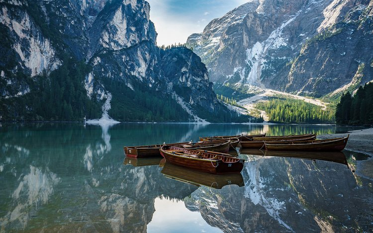 lake, mountains, nature, landscape, boats, boat, italy, the dolomites, achim thomae