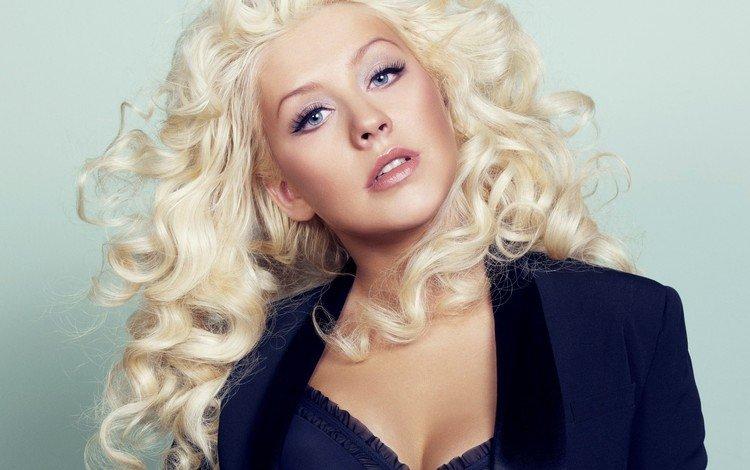 girl, blonde, look, hair, face, singer, neckline, christina aguilera