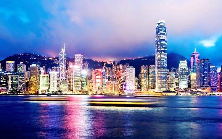 night, lights, panorama, the city, harbour, hong kong, victoria