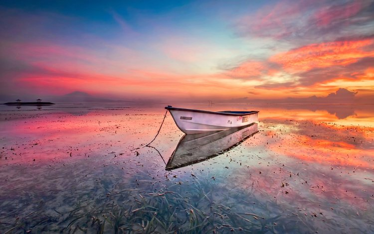 the sky, nature, shore, sunset, horizon, boat
