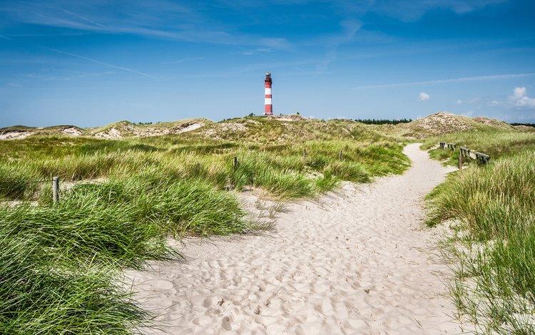the sky, grass, landscape, sea, sand, lighthouse, island, germany, schleswig-holstein