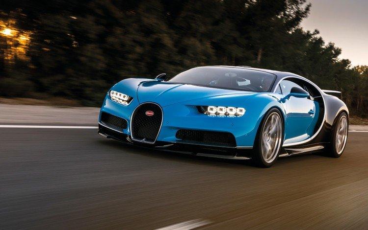 blue, bugatti, side view, chiron