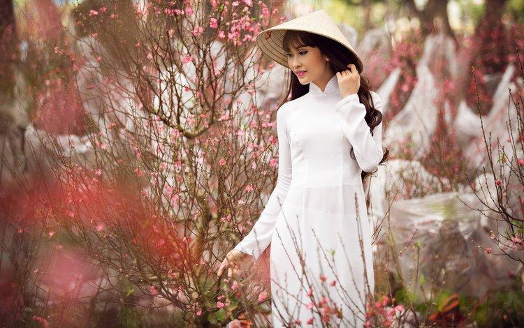 природа, шляпа, цветение, азиатка, девушка, белое платье, взгляд, гуляет, сад, модель, весна, волосы, nature, hat, flowering, asian, girl, white dress, look, walks, garden, model, spring, hair