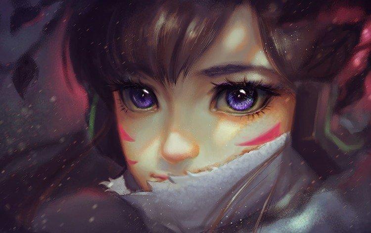 girl, look, hair, face, game, overwatch, d.va, blizzard entertainment, hanna son, hannah's dream