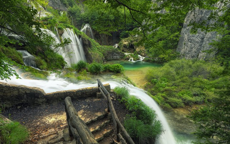 trees, river, landscape, waterfall, croatia, plitvice lakes national park