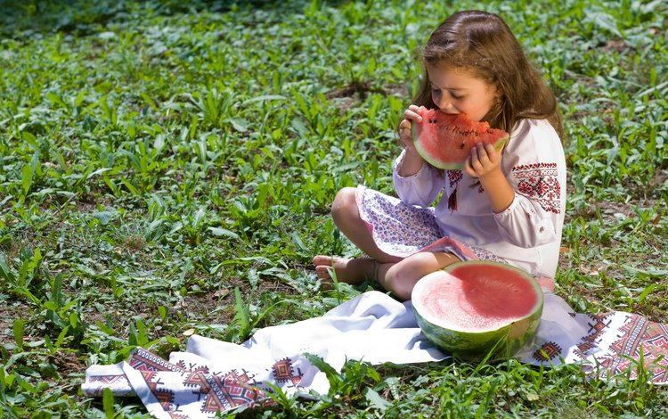 plants, mood, children, watermelon, hair, face, child, girl
