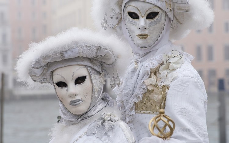 white, pair, costumes, mask, carnival