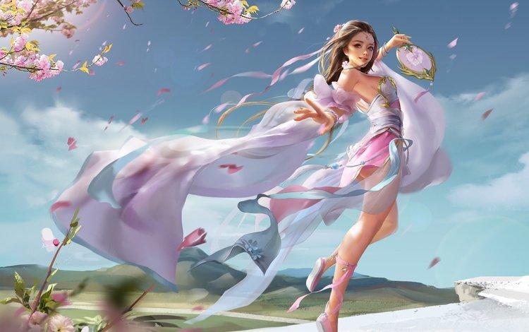 flowers, art, girl, mood, fantasy, anime, spring, dance, sakura, the wind, fan