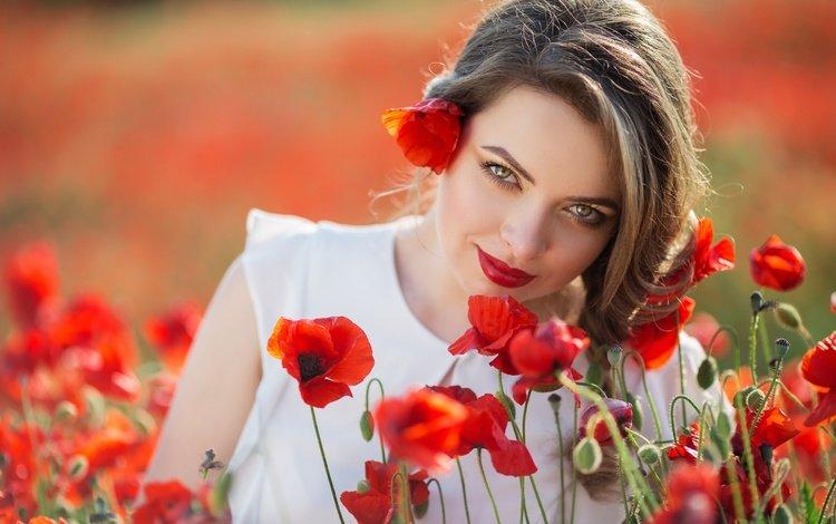цветы, девушка, взгляд, маки, модель, лицо, красные губы, flowers, girl, look, maki, model, face, red lips