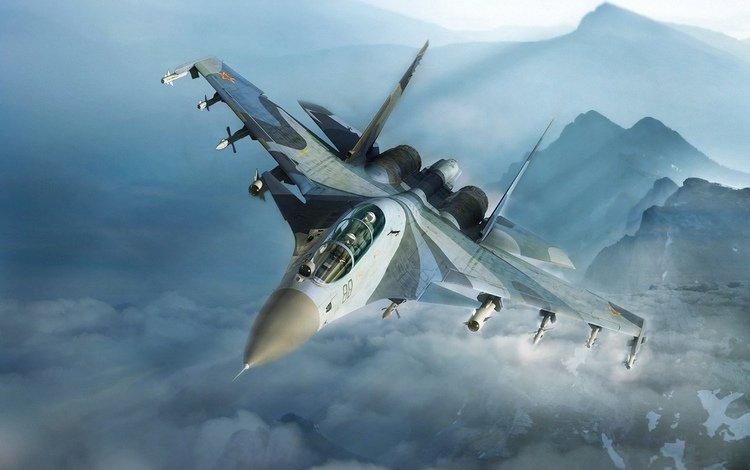 mountains, the plane, su 30 mki, guard