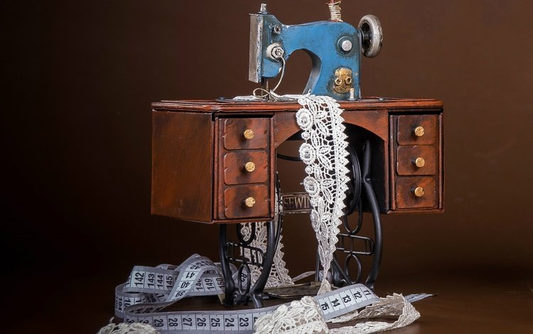 background, toy, lace, centimeter, sewing machine, souvenir