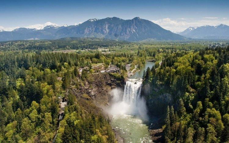 деревья, долина, река, горы, природа, лес, водопад, вашингтон, сша, trees, valley, river, mountains, nature, forest, waterfall, washington, usa