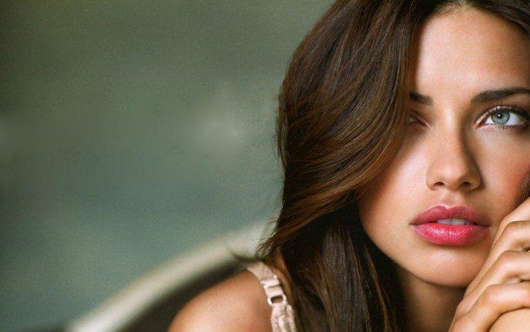 глаза, девушка, портрет, взгляд, модель, губы, адриана лима, красные губы, eyes, girl, portrait, look, model, lips, adriana lima, red lips