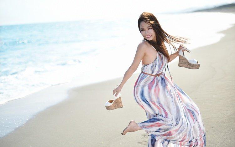 девушка, взгляд, море, модель, платье, волосы, поза, лицо, улыбка, akane♡♡♡, песок, пляж, лето, girl, look, sea, model, dress, hair, pose, face, smile, sand, beach, summer