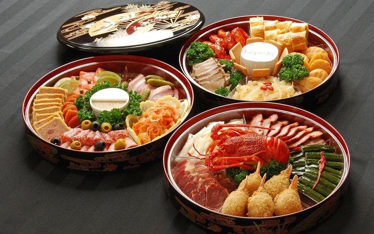 зелень, крабы, рыба, оливки, закуска, морепродукты, рак, greens, crabs, fish, olives, appetizer, seafood, cancer