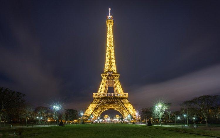 ночь, огни, город, париж, франция, эйфелева башня, night, lights, the city, paris, france, eiffel tower