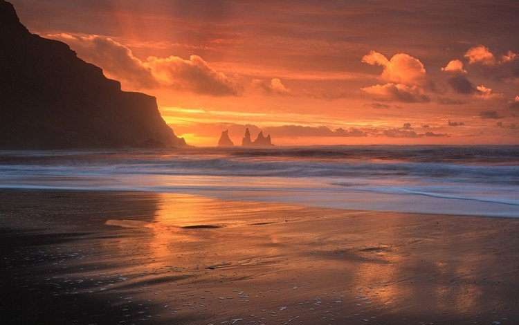 небо, пляж, облака, горизонт, скалы, побережье, природа, океан, берег, сумерки, закат, пейзаж, море, the sky, beach, clouds, horizon, rocks, coast, nature, the ocean, shore, twilight, sunset, landscape, sea