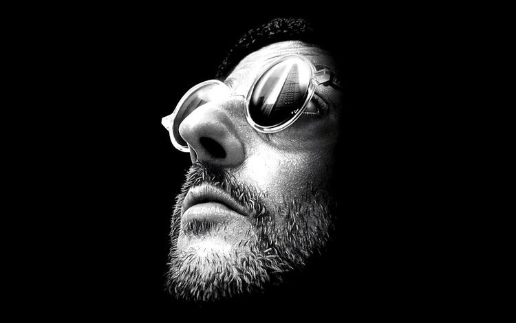 look, glasses, actor, black background, face, jean reno, leon