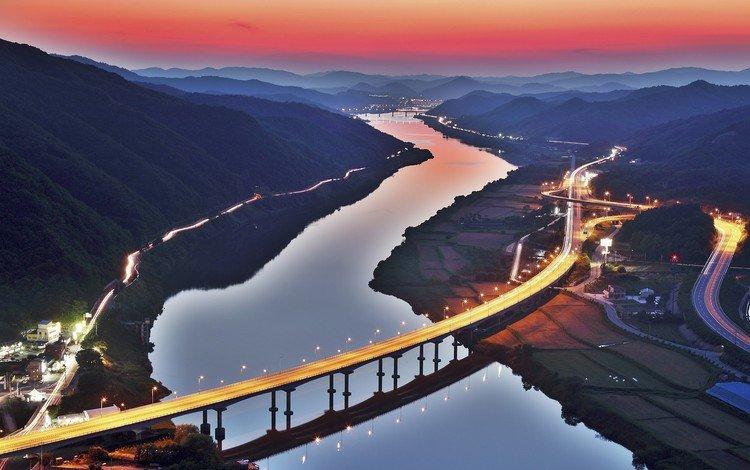 огни, река, горы, закат, мост, город, южная корея, автодорога, lights, river, mountains, sunset, bridge, the city, south korea, road