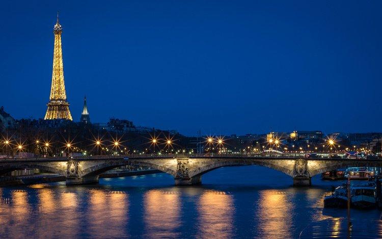 огни, река, мост, город, париж, франция, эйфелева башня, lights, river, bridge, the city, paris, france, eiffel tower