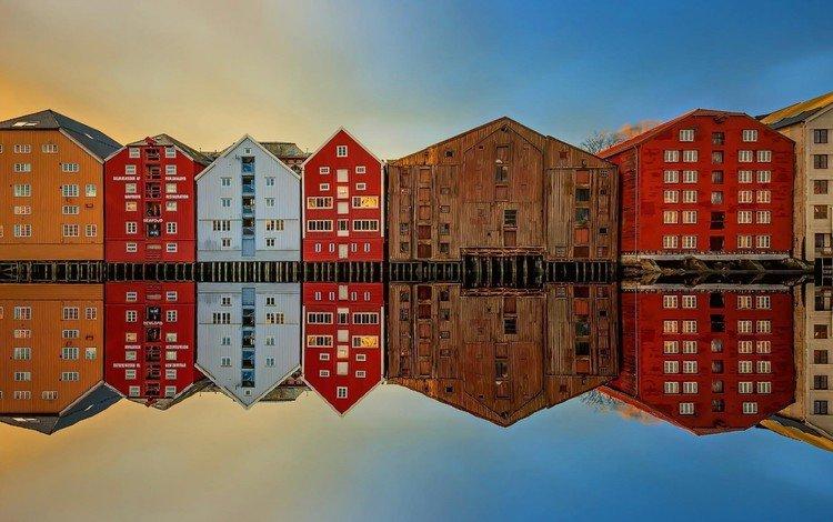 отражение, город, дома, норвегия, тронхейм, reflection, the city, home, norway, trondheim
