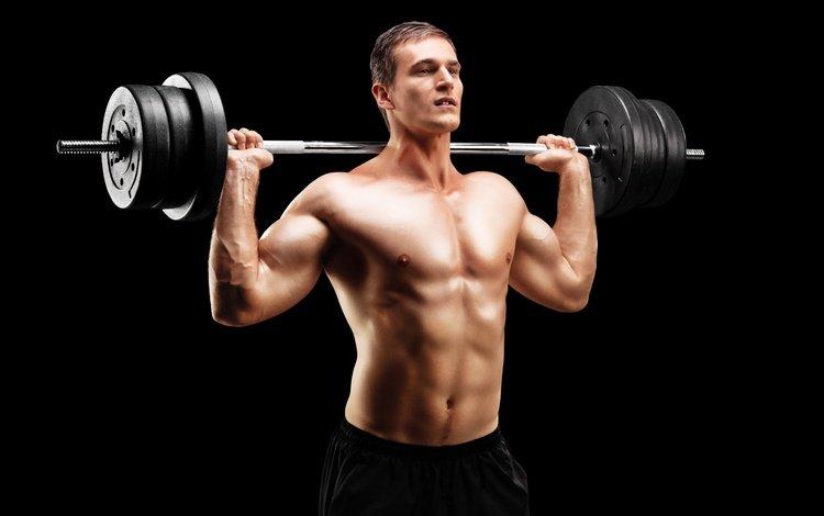 pose, black background, male, figure, press, muscle, bodybuilder, rod