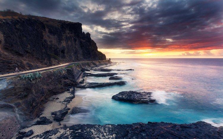 дорога, облака, скалы, берег, закат, море, пляж, побережье, road, clouds, rocks, shore, sunset, sea, beach, coast