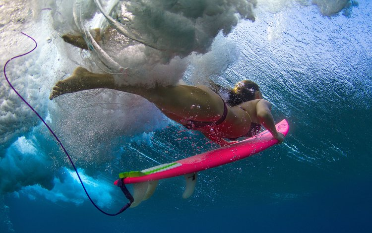 girl, under water, sport, surfing, surfer, bikini