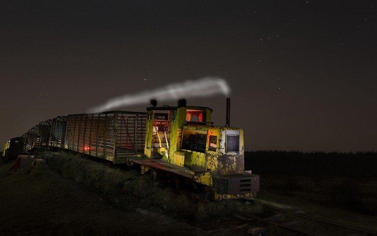 night, railroad, train, locomotive, vehicle