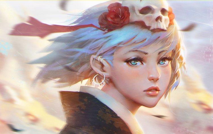 girl, flower, look, anime, face, skull, white hair, headdress