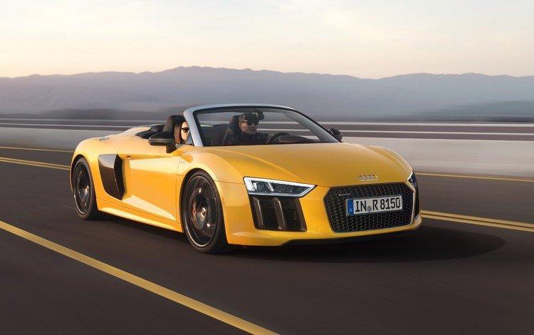 yellow, machine, speed, auto, car, audi, convertible