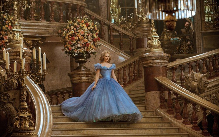flowers, ladder, dress, hall, cinderella, lily james