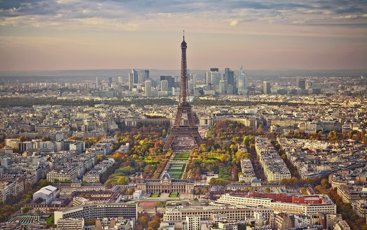 panorama, the city, paris, france, eiffel tower