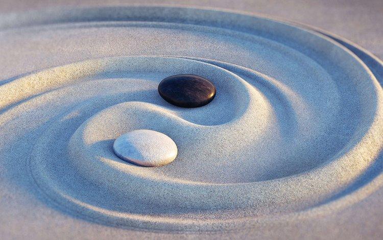 камни, песок, дзен, инь-янь, stones, sand, zen, yin-yang