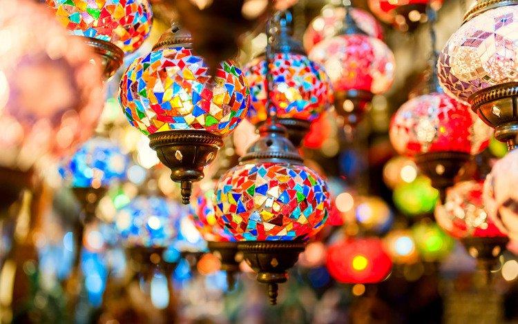 colorful, mosaic, turkey, istanbul, lamps, grand bazaar