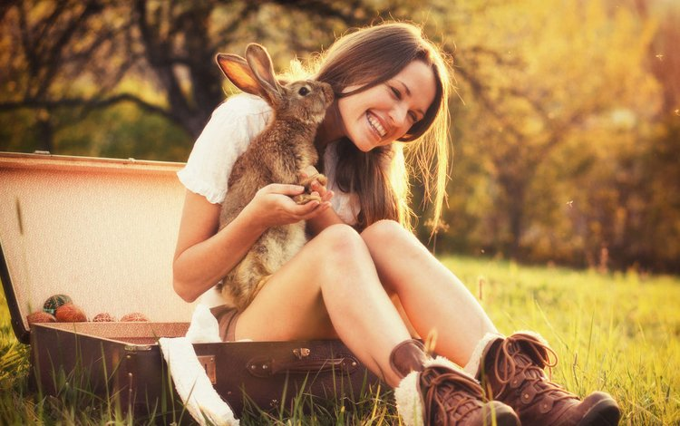 nature, girl, smile, look, autumn, hair, face, rabbit, suitcase, bunny
