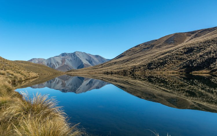 the sky, lake, mountains, reflection, new zealand, canterbury